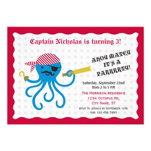 Pirate Octopus Birthday Party Invitation