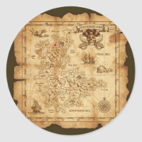 Pirate Old Vintage Treasure Map Birthday Party Classic Round Sticker