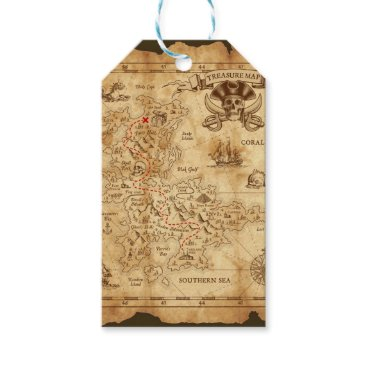 Wedding Themed Pirate Old Vintage Treasure Map Birthday Party Gift Tags