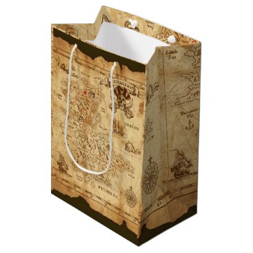 Wedding Themed Pirate Old Vintage Treasure Map Birthday Party Medium Gift Bag