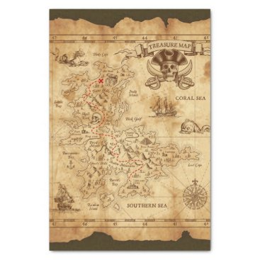 Wedding Themed Pirate Old Vintage Treasure Map Birthday Party Tissue Paper
