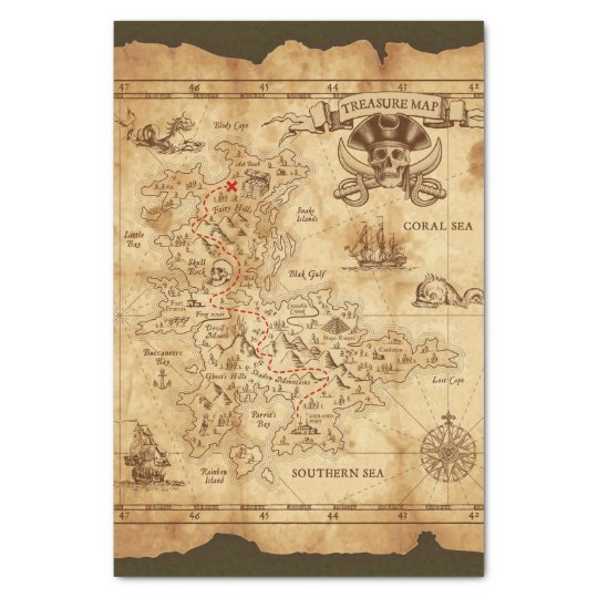 Pirate Old Vintage Treasure Map Birthday Party Tissue Paper | Zazzle.com