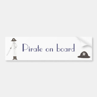 Pirate on board bumper sticker