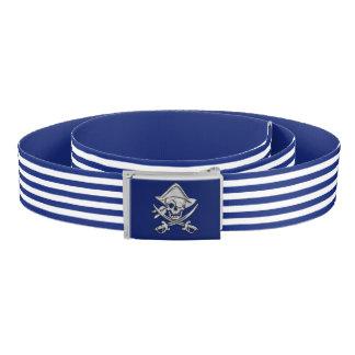Pirate on Nautical Navy Blue Stripes Print Belt