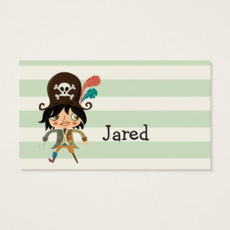 Pirate on Pastel Green Stripes Business Card