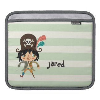 Pirate on Pastel Green Stripes iPad Sleeve