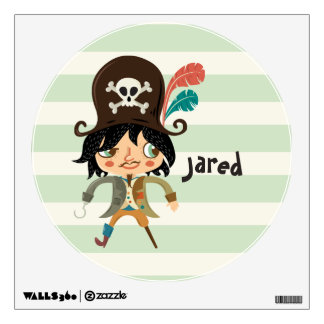 Pirate on Pastel Green Stripes Room Decals