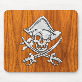 Pirate on Teak Wood Style Mouse Pad