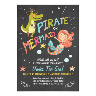Pirate or Mermaid birthday invitation Joint Bday