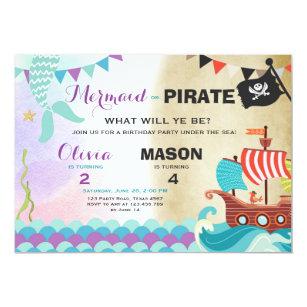 Pirate Or Mermaid Birthday Invitation Siblings