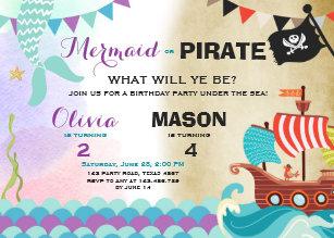 Pirate birthday invitations zazzle pirate or mermaid birthday invitation siblings filmwisefo