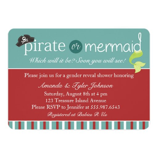 """Pirate Or Mermaid Gender Reveal Baby Shower Invite 5"""" X 7"""" Invitation Card"""