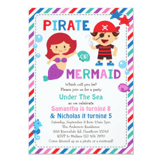 Pirate or Mermaid Invitation, Under the sea party Card