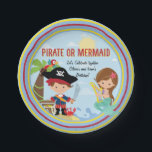 "Pirate or Mermaid Paper Plate<br><div class=""desc"">Pirate and Mermaid Double Birthday: Very cute design featuring a pirate in an island with his treasure and a mermaid playing her harp on a wave. It&#39;s a great for siblings join party. Suitable for girls or boys, it invites their little friends to choose to be whatever they want: a...</div>"