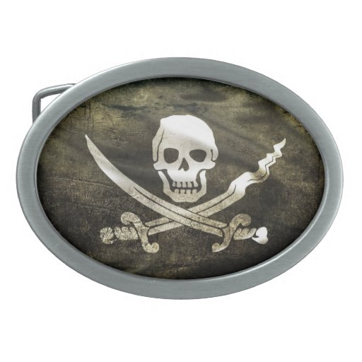 pirate oval belt buckle