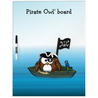 pirate owl - birthday party dry erase board