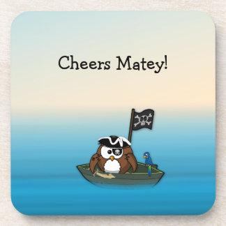 pirate owl - home decor drink coaster