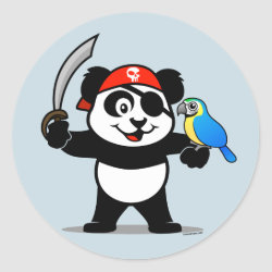 Round Sticker with Pirate Panda design