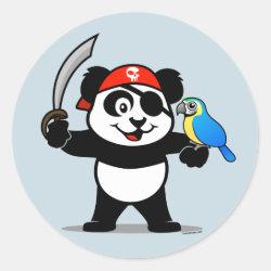 Round Sticker with Pirate Panda design