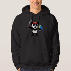 Men's Basic Hooded Sweatshirt with Pirate Panda design