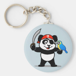 Basic Button Keychain with Pirate Panda design