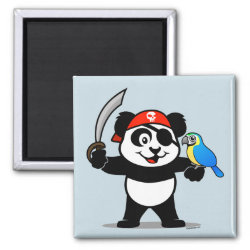 Square Magnet with Pirate Panda design