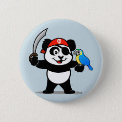 Round Button with Pirate Panda design