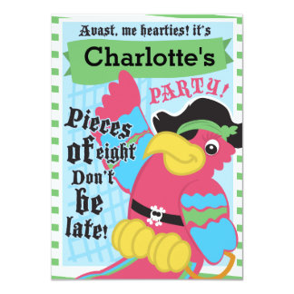 Pirate Parrot Invitation Cutomizable
