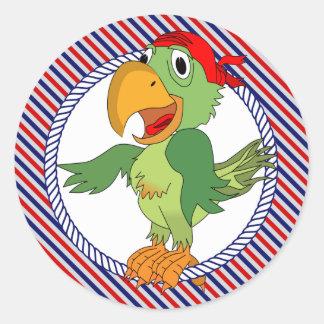Pirate Parrot Nautical Stripes Classic Round Sticker