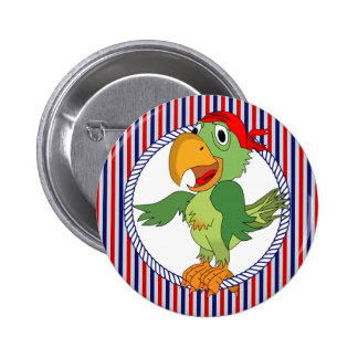Pirate Parrot Nautical Stripes Pinback Button