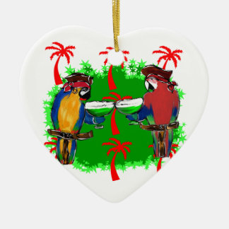 PIRATE PARROTS Double-Sided HEART CERAMIC CHRISTMAS ORNAMENT