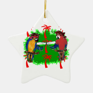 PIRATE PARROTS Double-Sided STAR CERAMIC CHRISTMAS ORNAMENT