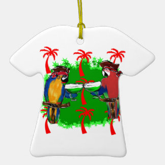 PIRATE PARROTS Double-Sided T-Shirt CERAMIC CHRISTMAS ORNAMENT