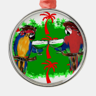 PIRATE PARROTS ROUND METAL CHRISTMAS ORNAMENT