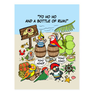 Pirate parrots postcard