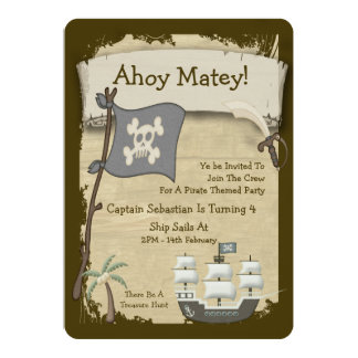 "Pirate Party Announcement 5"" X 7"" Invitation Card"