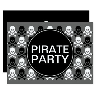 pirate party center skull stripe card