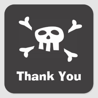 Pirate party favor thank you seals/labels square sticker