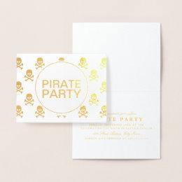 Pirate Party Gold Foil Skull Stripe Foil Card