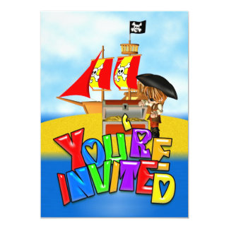 Pirate Party Invitation Card Colourful