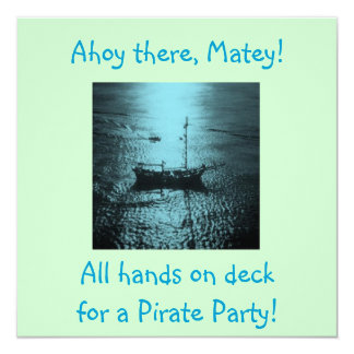 Pirate Party Invitations blue