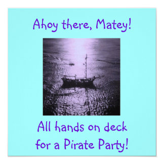 Pirate Party Invitations purple