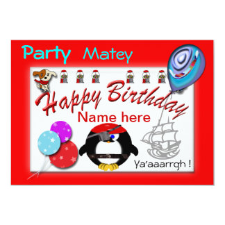 Pirate Party Matey Card