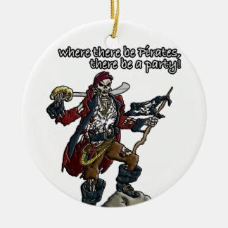 Pirate Party Double-Sided Ceramic Round Christmas Ornament