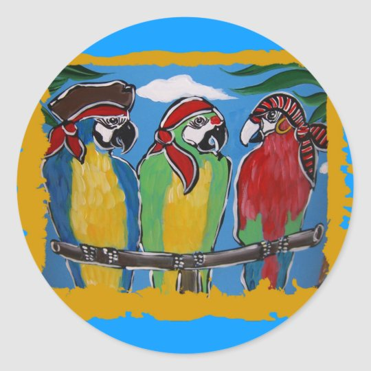 Pirate Party  Parrots Classic Round Sticker