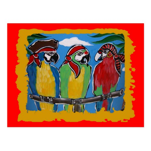 Pirate Party  Parrots Post Cards