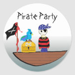 Pirate Party Round Stickers