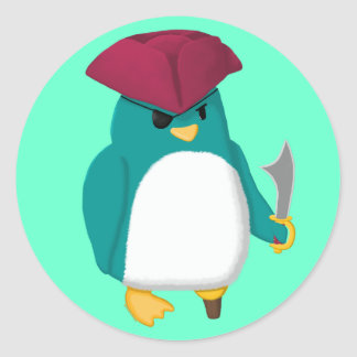 Pirate Penguin Classic Round Sticker