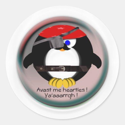 Pirate Penguin Classic Round Sticker