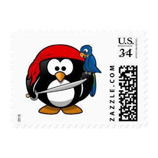 Pirate Penguin Cute Art Stamp